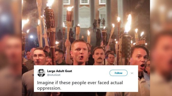 Charlottesville Alt-Right Rally, Tweet from Large Adult Goat