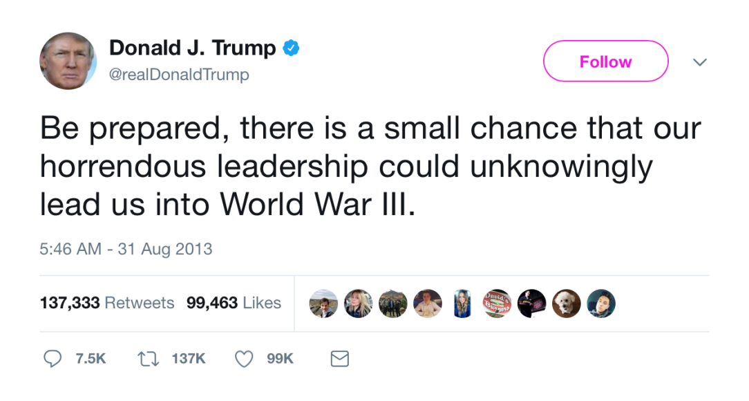 Trump Tweet from August 2013 seems to be another case of Trump foreshadowing his future self.