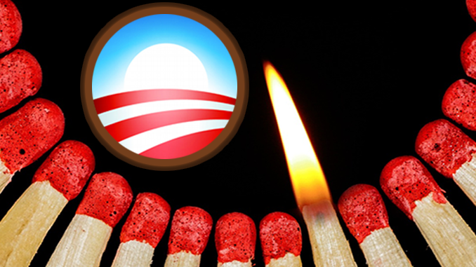 Obamacare logo with lit match
